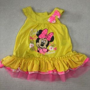 Disney Baby Minnie Mouse Yellow Ruffled Tank Top